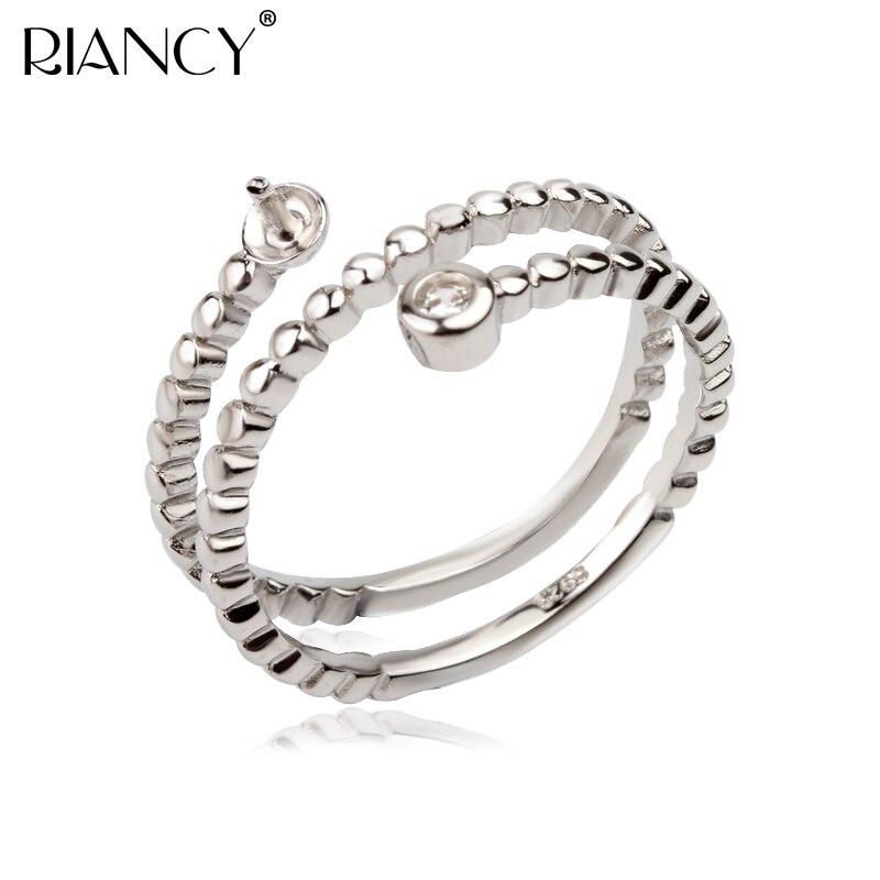 Mode 925 Sterling Silber Ringe Halter Frauen DIY Ringe Natürliche Süßwasser Perle Schmuck Ringe Zubehör