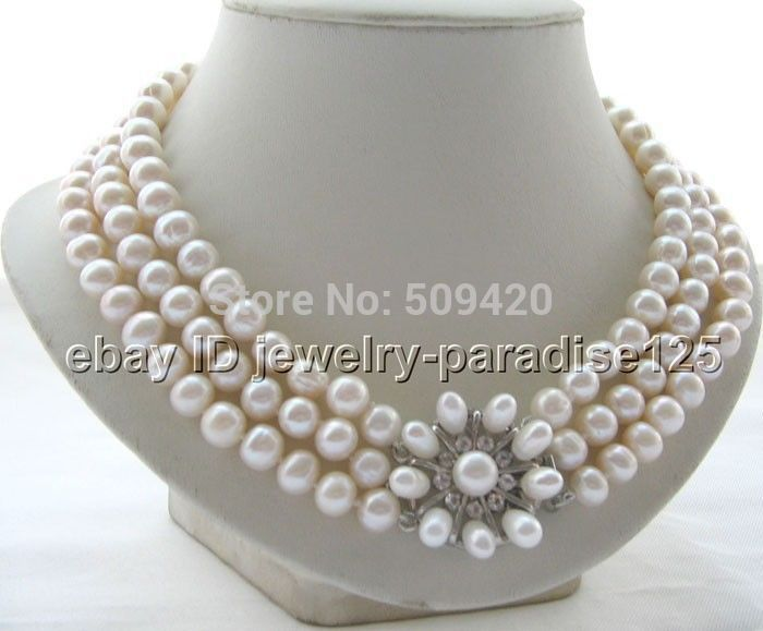 FREE SHIPPING>>@> HOT3row 9-10mm natural white round freshwater pearl necklace цена и фото