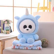 Новинка, 60 см, милая панда, поворачивается к единорогу, плюшевая игрушка и одеяло, Мягкая Плюшевая Кукла Kawaii, Подушка для сна, домашний декор для детей, подарки для девочек