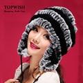 Новый Женский Зима Теплая Настоящее Природный Подлинная Кролика Меховая Шапка Головные Уборы Зима теплая Шляпа Бесплатная Доставка TFP356