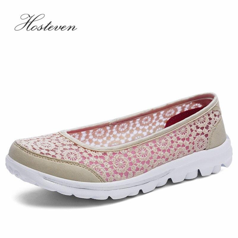 Hosteven Frauen Schuhe Casual Plattform Sneaker Wohnungen Schuhe Mädchen Damen Air Mesh Schuhe Solide Sommer Schuhe Plus 35-42