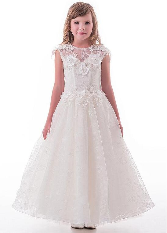 Lace Jewel Neckline Cap Sleeves Ankle-length A-line Flower Girl Dresses for Wedding With Lace Appliques Girls Dresses недорго, оригинальная цена