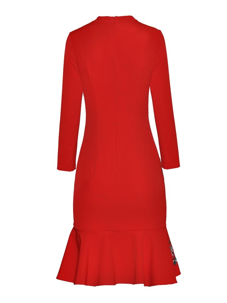 longitud cuello Mujeres Manga Del Las Alta Vintage Vestido Red Ruffle Nuevo Para Moda Calidad Rodilla O Bordado Otoño Imperio Larga H5815 De Vestidos wPqwg5XUx