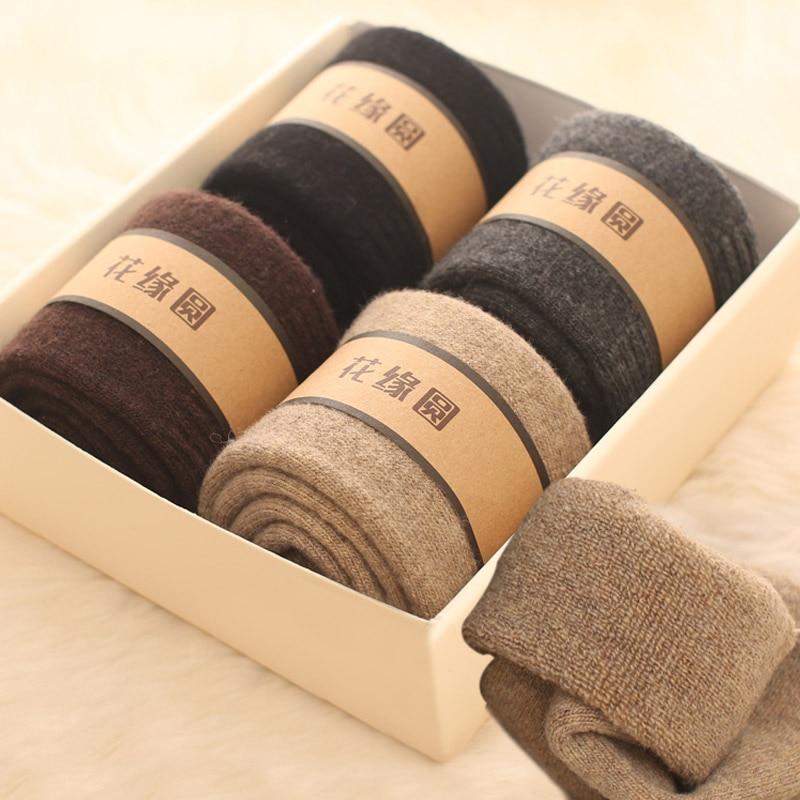 Merino Wool Winter Plush Warm Long Socks Men Thicker Wool Loop Towels Cashmere Plush Slacky Cotton Dress Men Socks 4Pairs