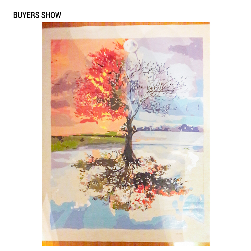 CHENISTORY Frameless Four Seasons Tree Landscape DIY Painting By Numbers Kit Paint On Canvas Painting Calligraphy CHENISTORY Frameless Four Seasons Tree Landscape DIY Painting By Numbers Kit Paint On Canvas Painting Calligraphy For Home Decor