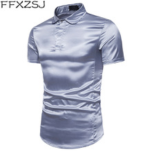 FFXZSJ Brand 2019 Summer Men Shirt Short Sleeve Shine Simple Solid Color Nightclub Bussiness Plus Size Mens Cothing