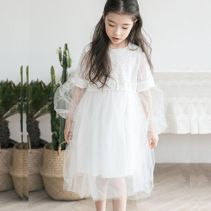 Dentelle maille adolescente été printemps robe 2018 long blanc mariage enfants robe pour fille fête robe enfants vêtements mignon robe