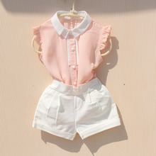 New Arrival Girls Shirts Summer 2018 Chiffon Cool Tops Teenage Girls Ruffle Blouse Kids Sleeveless Turn-down Collar Vest Shirts cheap GB-Kcool Fashion Polyester spandex Acetate Fits true to size take your normal size Solid girls blouse REGULAR Children