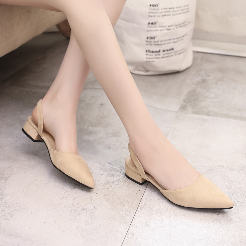 Spring Dress Shoes Women Low Heels Slip On Lady Sandals Flock Candy Color Summer Sandals Women Shoes Pointed Toe Pumps WSH3186 5
