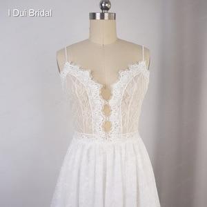 Image 3 - Robe de mariée en dentelle à bretelles Spaghetti perlées, effet dillusion, encolure, jupe courte à lintérieur, robe de mariée sur mesure en usine
