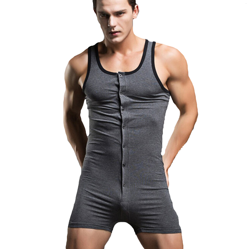 Sexy Mens Jumpsuit Vest Pajamas Elastic Cotton Sleeveless Vest Homewear Casual Male Home Bodysuit Tops and Underwear M/L/XL