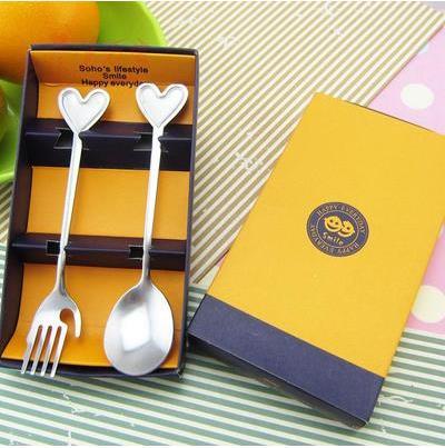 Кухня столовая посуда столовые сервизы с принтом сердца и смайлика вилка и ложка из нержавеющей стали для свадебного подарка 10 комплектов в каждом из компл./лот - Цвет: E
