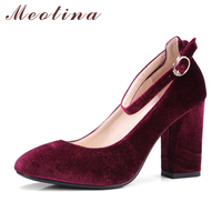 Meotina Women Shoes Velvet Thick High Heels Women Pumps Ankle Strap Lady Party Shoes Ladies Pump Plus size 33 43 Chaussure Femme