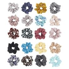 20 Pack Soft Ouchless Chiffon Scrunchies for Hair Ties Satin Fabric Covered Bobbie Scrunchy Elastic Band Ponytail Holder