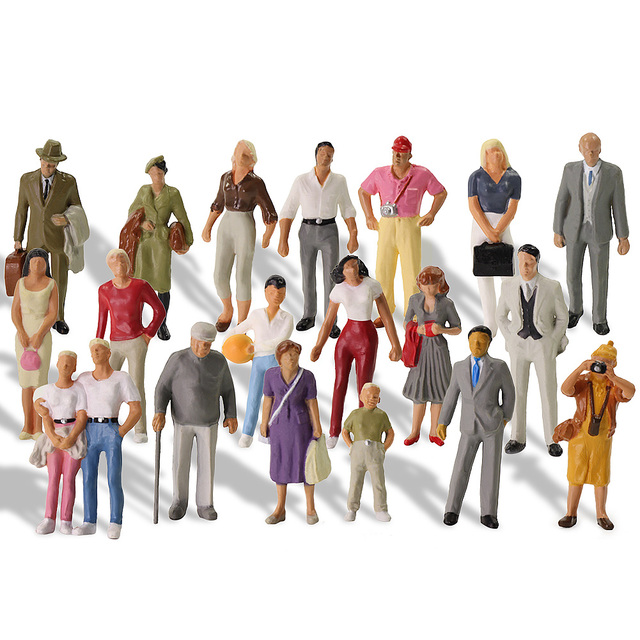20pcs All Standing 1:43 Scale Painted Figures O scale People Railway Figures Scenery Model Railway
