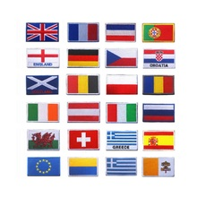3D high quality 100% embroidery patch loops and hook Iraq/Canada/Italy/Britain/Greece/Brazil/Portugal/Germany/Spain flag patches