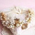 Fashion Gold Leaf Wedding Tiara Hair Accessories Handmade Flower Pear Crystal Bridal Headband Hairband