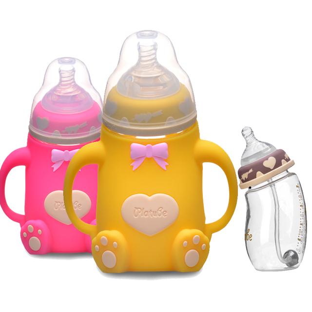240 ML de Alimentação Do Bebê Garrafas de Vidro de Borosilicato de Alta Tipo Arco Anti-flatulência Garrafa de Leite Amamentação Infantil BPA Livre