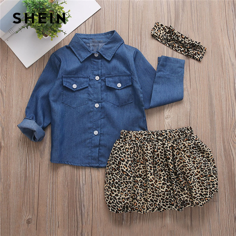SHEIN Kiddie Toddler Girls Denim Blouse And Leopard Print Skirt With Headband Suit Sets 2019 Summer Long Sleeve Casual Kids Sets shein kiddie toddler girls hoodie and floral print pocket drawstring pants with headband girls set long sleeve casual girl suit