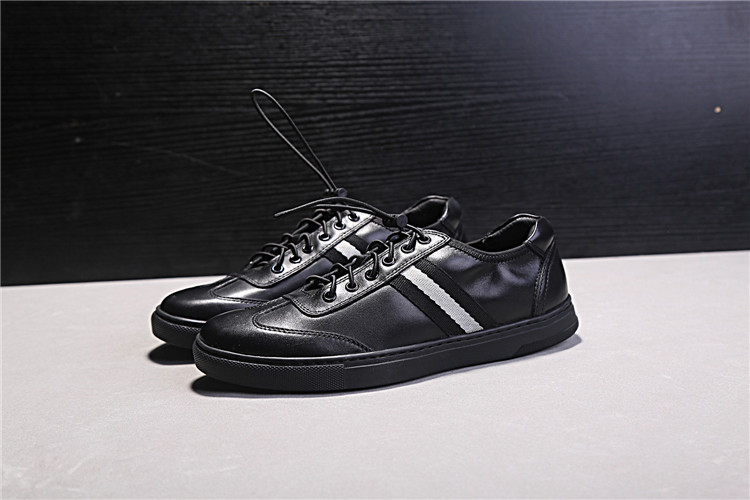 Black Genuine Leather Men Casual Shoes Round Toe Rubber Heel Flat - Men's Shoes - Photo 2