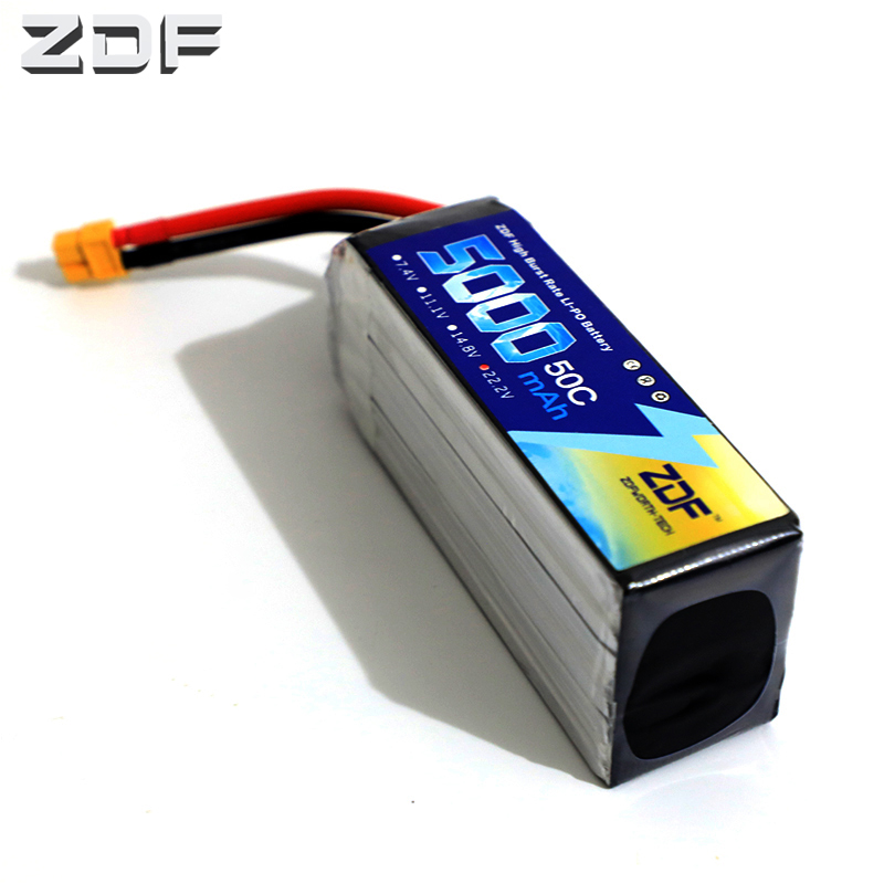 ZDF Power 22.2V <font><b>5000mAh</b></font> <font><b>6S</b></font> 50C Lipo Battery T Plug Connector for RC Racing Drone Helicopter Models Toys Power Spare Part image