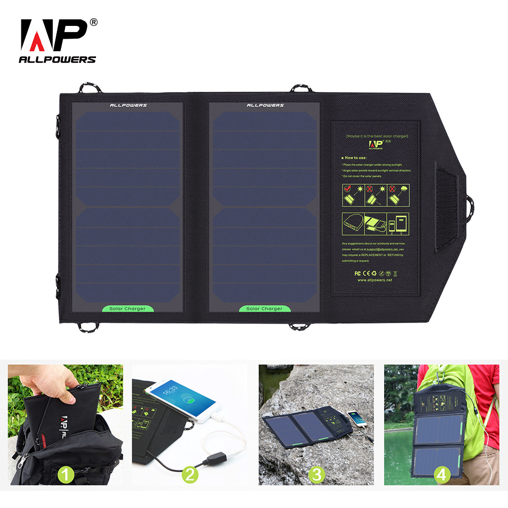 ALLPOWERS Solar Panel 10W 5V Solar Charger Portable Solar Battery Chargers Charging for Phone for Hiking etc. Outdoors.