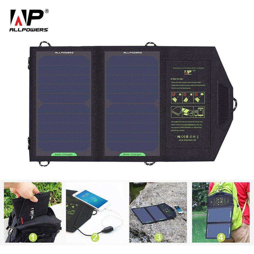ALLPOWERS Zonnepaneel 10 W 5 V Solar Charger Portable Solar Opladers Opladen Voor Telefoon Voor Wandelen Etc. Buiten.