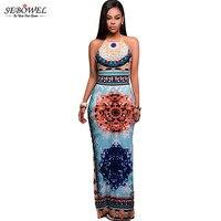 SEBOWEL 2017 Summer Bohemian Long Dress Sexy Women African Halter Beach Backless Print Maxi Dress for Party Dress