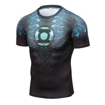 2017 새로운 녹색 랜턴 슈퍼 히어로 철 남자 t 셔츠 압축 셔츠 3d 짧은 소매 t 셔츠 휘트니스 남자 브랜드 t 셔츠