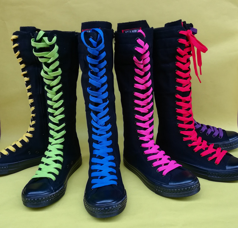 Women Boots 2019 Spring High Long Tube Cheerleaders Dance Shoes Front Tie Side Zipper Canvas Casual Female Flat with ShoesWomen Boots 2019 Spring High Long Tube Cheerleaders Dance Shoes Front Tie Side Zipper Canvas Casual Female Flat with Shoes