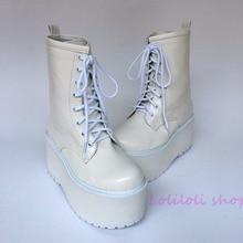 Princess lolita punk shoes Japanese design customized shoes large size white matt high boot