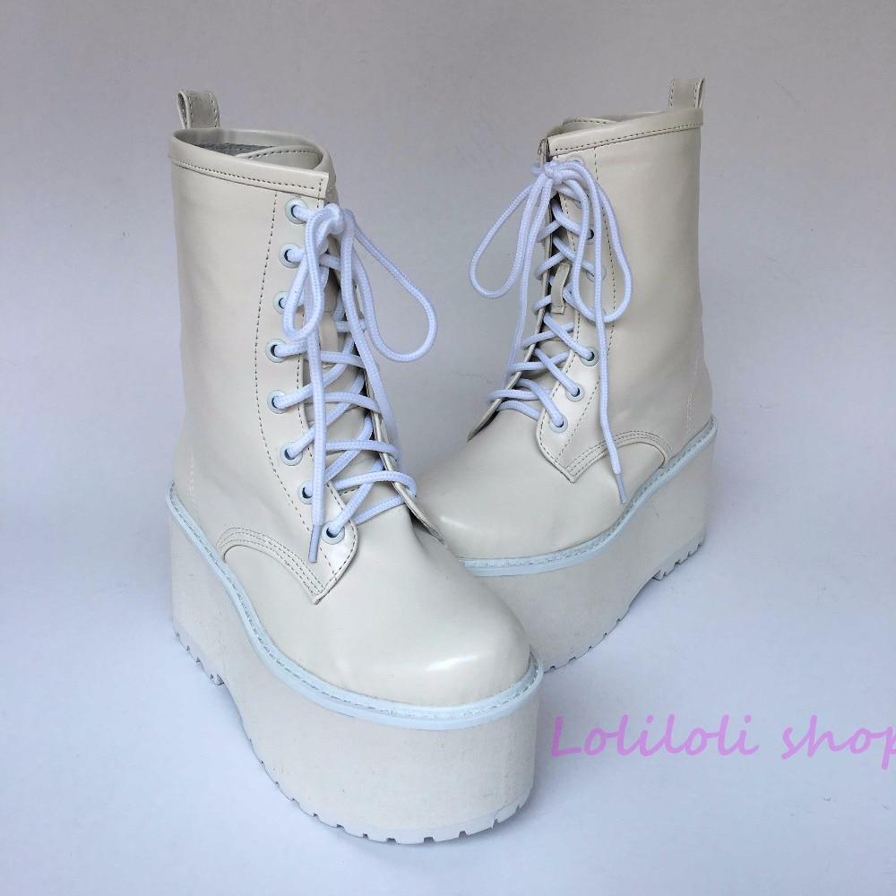 Princess lolita punk shoes Japanese design customized shoes large size white matt high boots shoes platform shoes 9236