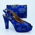 Sapatos italianos com Sacos de Harmonização Italianos Azul Royal Sapatos De Saltos Altos Sapatos combinando e Sacos para Partys Sapato Africano e Saco Conjunto