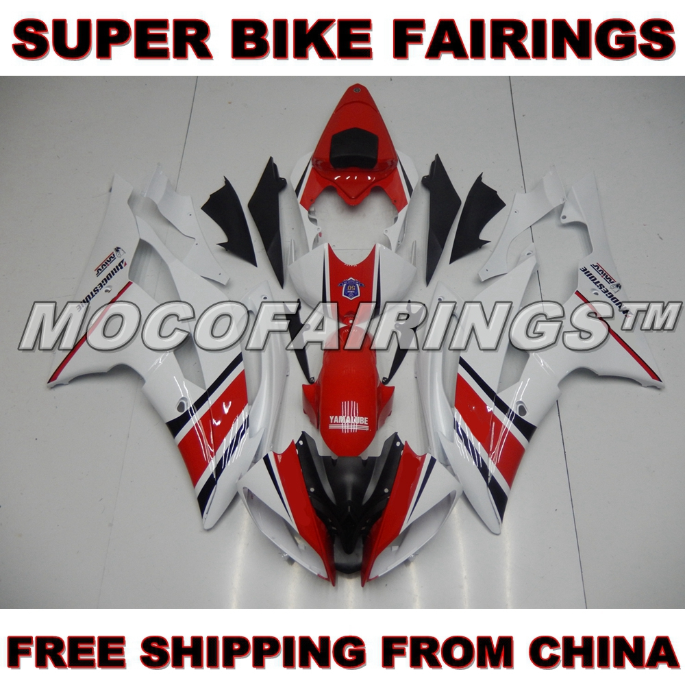 Injection Fairings For Yamaha YZF600 R6 08 09 10 11 12 13 14 Year 2008 - 2014 Plastic ABS Fairing Kit RED WHITE hot sales yzf600 r6 08 14 set for yamaha r6 fairing kit 2008 2014 red and white bodywork fairings injection molding