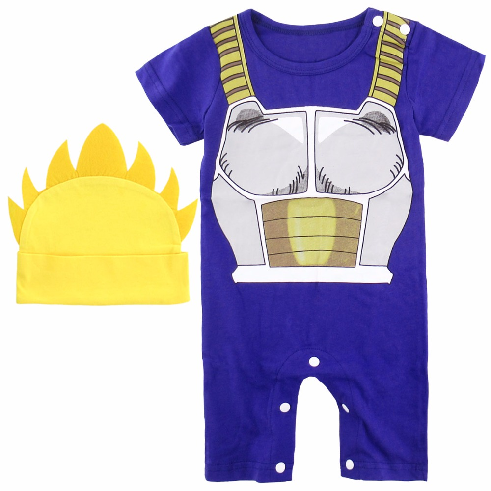 Newborn Baby Boys   Romper   With Hat Dragon Ball Z Vegeta Costume Funny Infant Playsuits Super Saiyan Short Sleeve Summer 6-18M