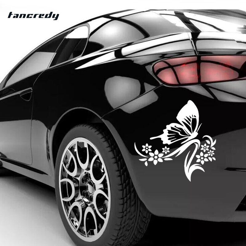 Car styling butterfly flower stickers car door window stickers 14 15cm car decoration stickers - Cool door cars decoration ...