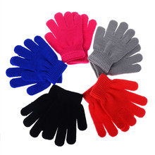 Lovely Candy Colors Children Kid Knitted Gloves Solid Colors Full Finger Stretch Knit Gloves Spring and Autumn Mittens Best Gift