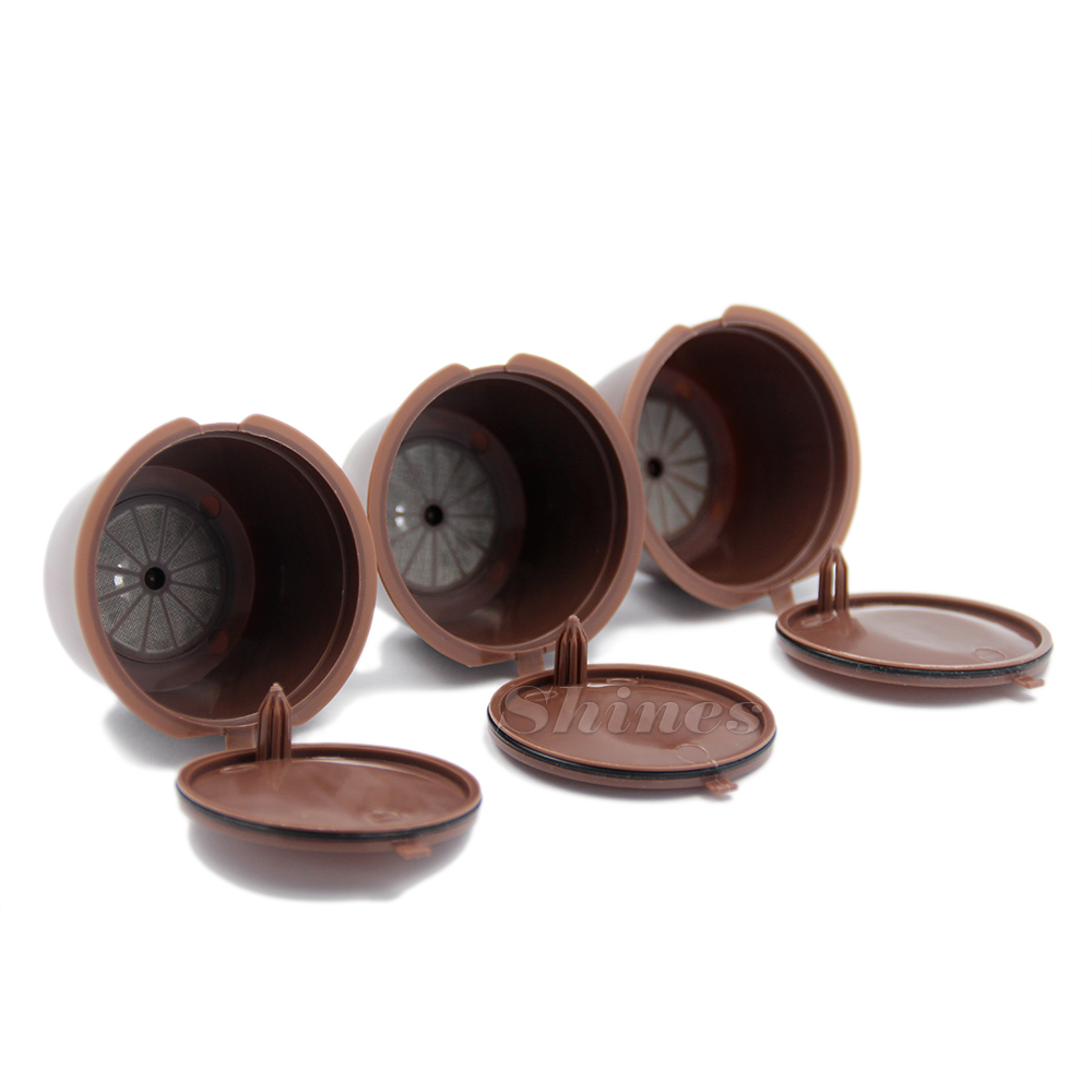 Refillable Reusable Refill Coffee Capsule Pod Cup Filter Bracket Adapter for Nescafe Dolce Gusto Machines Brown Color