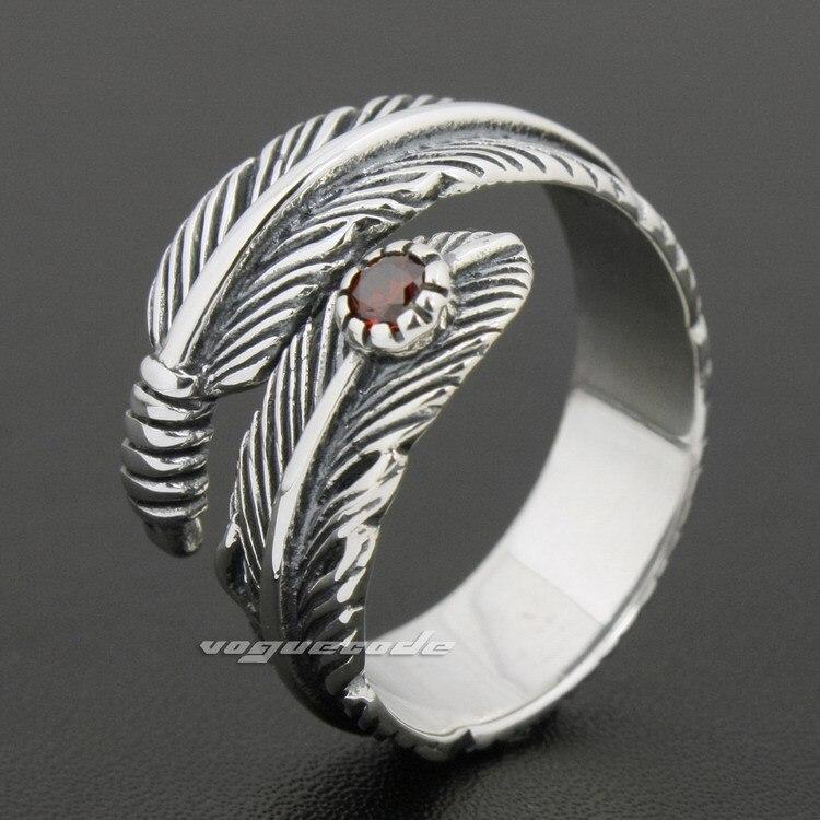 Taille réglable 925 en argent Sterling en cuir CZ hommes Biker anneau à bascule 8S011