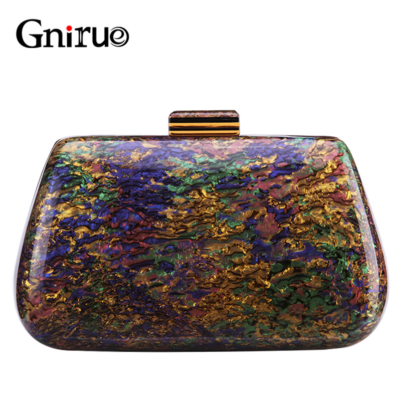 New Fashion Design Colorful Shell Marble Acrylic Clutch Bags Women Messenger Bags Luxury Elegant Evening Bags Party Handbags