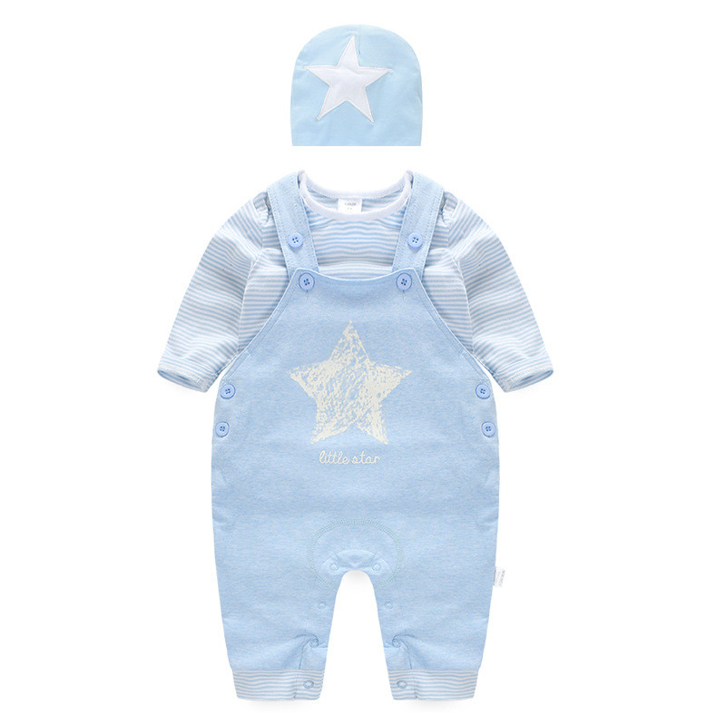 Sports Cotton Baby Boy Clothes Set Stripped and Star Pattern Including Cap T Shirt Jumpsuit Infant