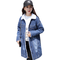 2019 Loose Lamb Fur Denim Jacket winter woman coats Streetwear casaco feminino Thick Jean Jackets Female Oversize bomber jacket