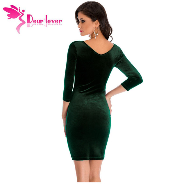 Ladies Sheath Dress Dark Green Hollow Out Round Neck