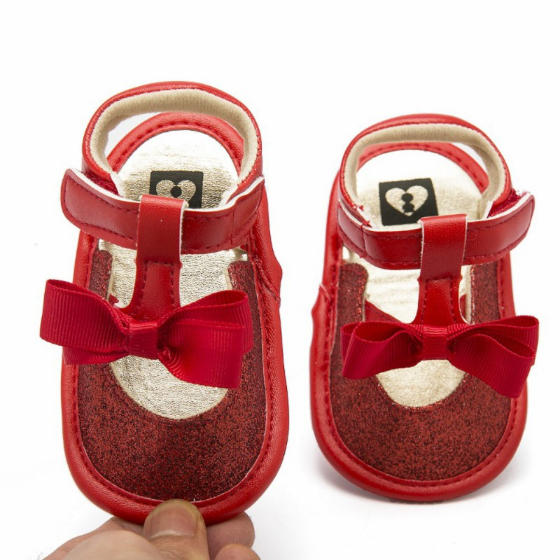 Summer Shiny Baby Sandals Girls Shoes With Bowknot Breathable Toddler Girls Sandals Non-slip Baby Shoes