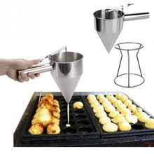 22cm Stainless Steel Small Octopus Balls Making Funnel Cupcakes Baking Dispenser with Rack Kitchen Utensils Funnel Tools