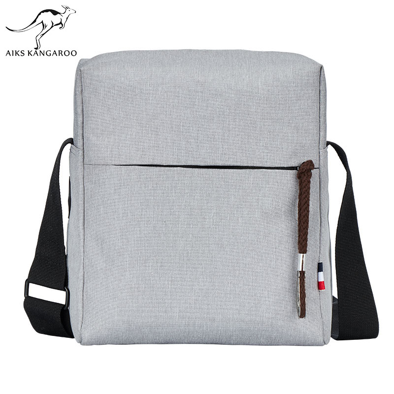 Aiks Men's Shoulder Bag Multifunctional Man Casual Messenger Bag for Ipad Phone Canvas Sling Bag Business Casual Men's bag man s casual canvas shoulder bag messenger bag coffee white