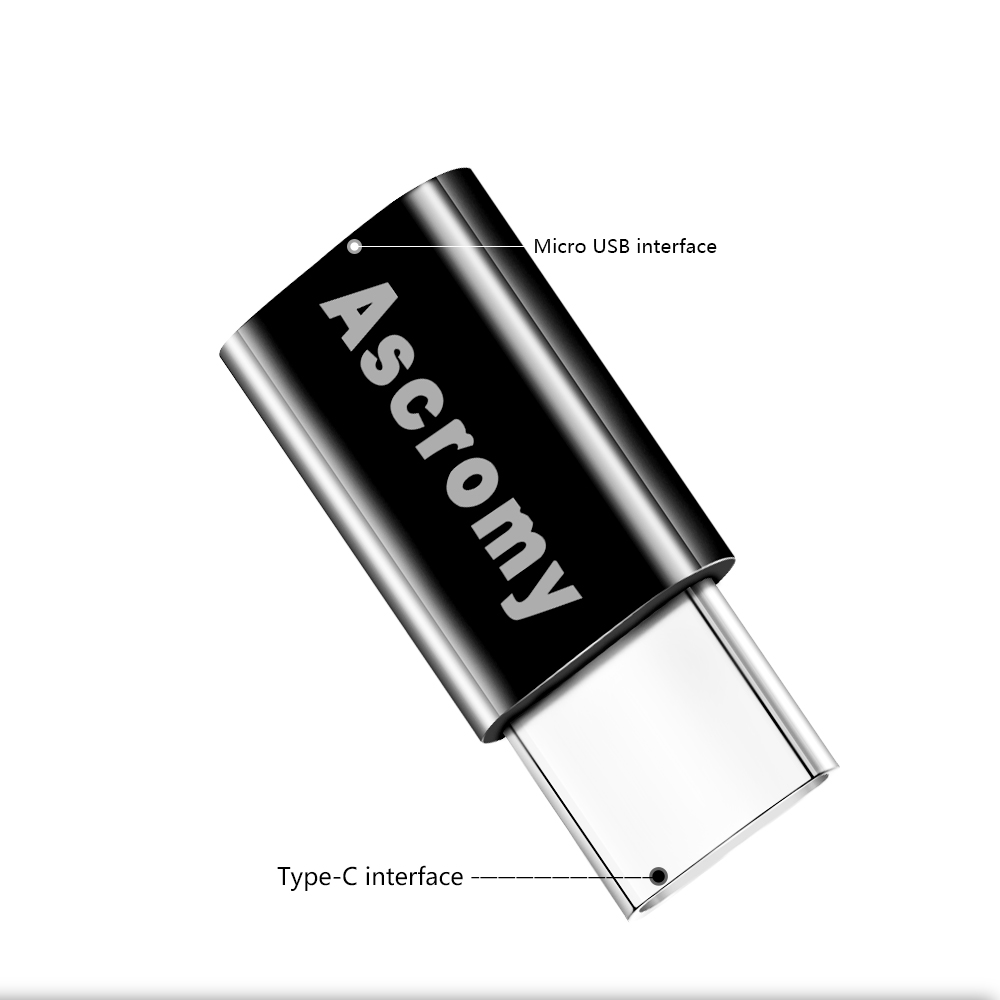 Ascromy USB C to Micro USB OTG Cable Type C Converter Adapter for Macbook Samsung Galaxy S8 S9 Plus Huawei P20 Pro p10 P9 Type-C (2)