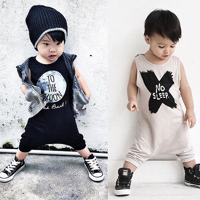 Toddler Baby Boy Girl Romper Jumpsuit Clothes No Sleep/To the Moon Printed Black White O ...