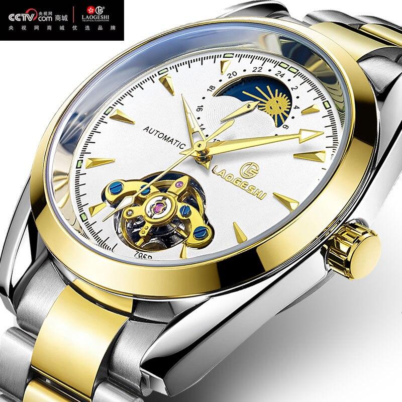 Luxe Tourbillon creux étanche montres hommes lumineux automatique mécanique montre 24 heures affichage lune phase Relojes zegarki