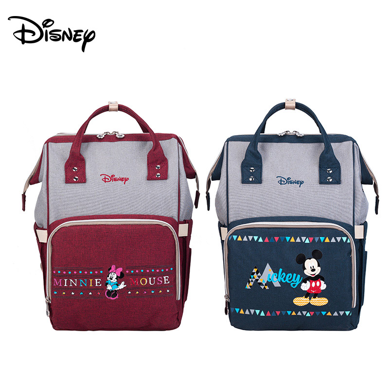 Disney Minnie Mickey Backpack Multifunction Large Capacity Baby Diaper Bag Baby Stroller Travel Mummy Bag